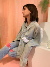 Ruffle organza lace denim jacket