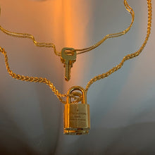 Louis Vuitton repurposed lock 18KGP necklace duo