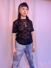 Sheer lace squiggle tee