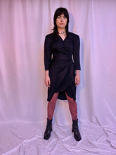 80's silk ruched surplice dress