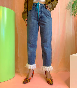 Acid wash blue lace organza ruffle jeans