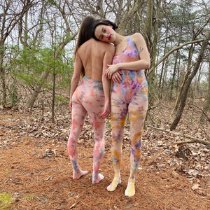Cotton candy tie dye tights