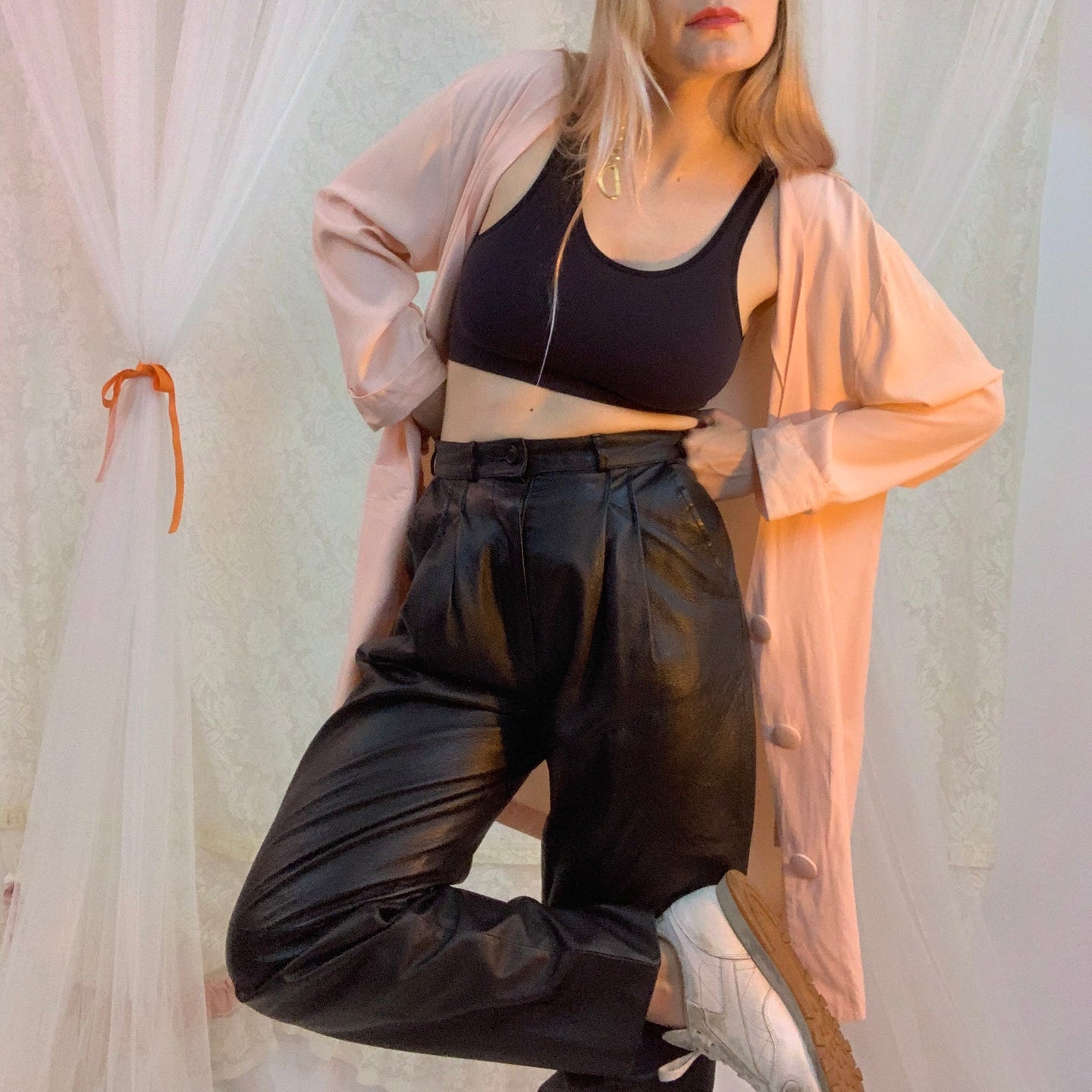 80's pleated leather pants