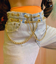 Double extra chain belt jeans