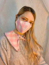 Gingham pink ruffle collar set