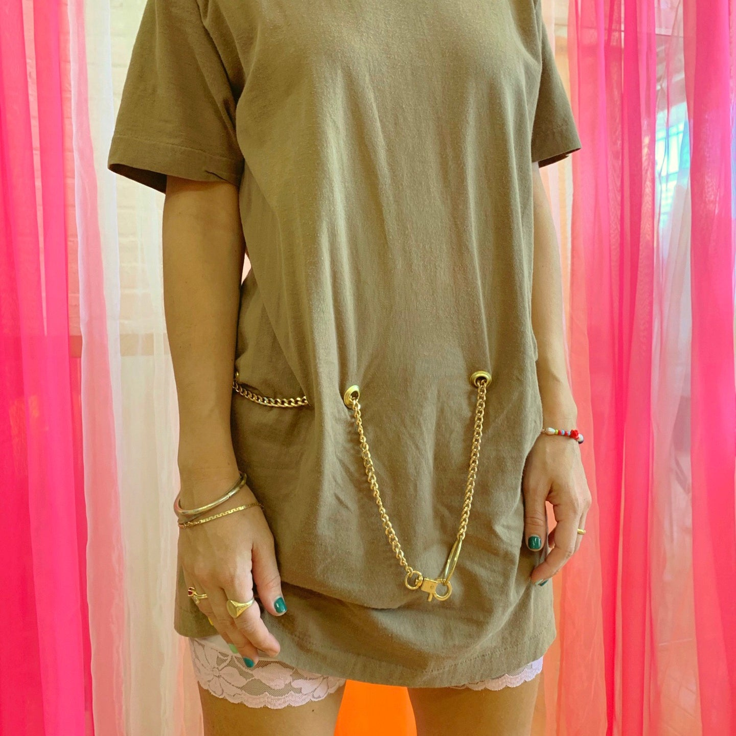 Coffee chain belt tee dress