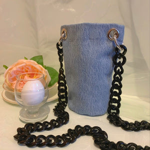 Repurposed denim acrylic chain bag