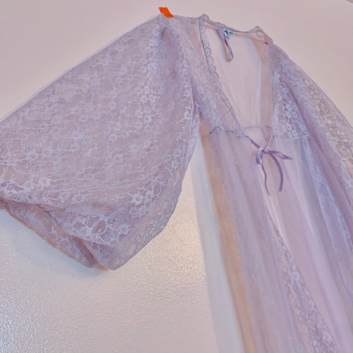 Sheer lilac balloon sleeve bed jacket