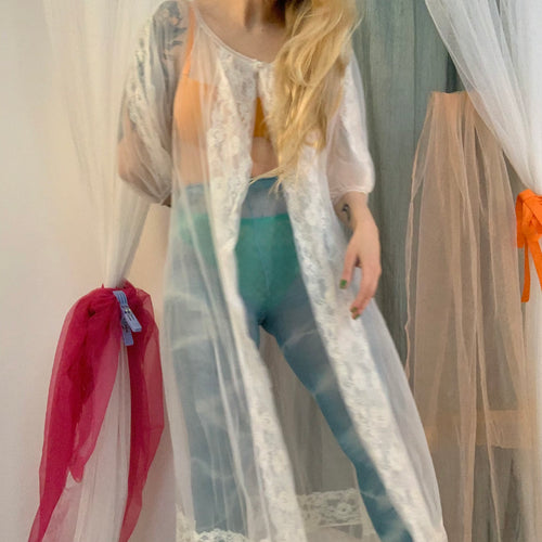Sheer balloon sleeve robe/dress