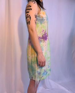 Rhinestone silk tie dye dress