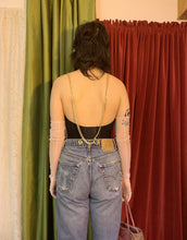 Chain cropped suspender jeans