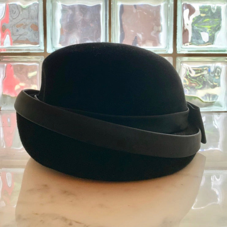Velvet fold over brim bow hat