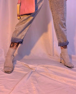 Acid wash pleated pants