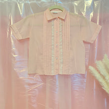 Sheer pastel country ruffle blouse