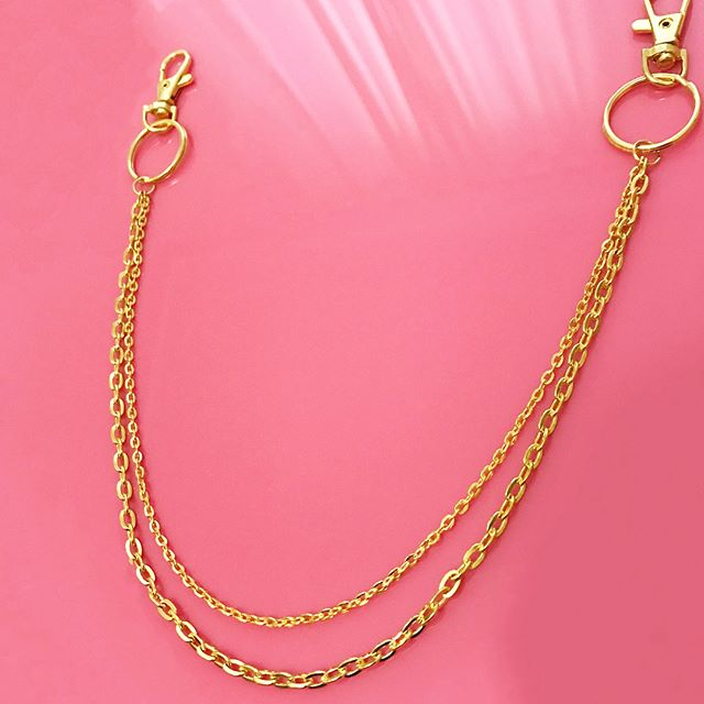 Gold double clip chain