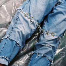 Pieced D ring jeans