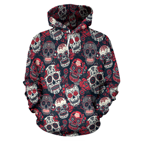 Red & White Skull Hoodie - hoodie - Rose Skating
