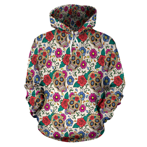 Green & Red Skull Hoodie - hoodie - Rose Skating