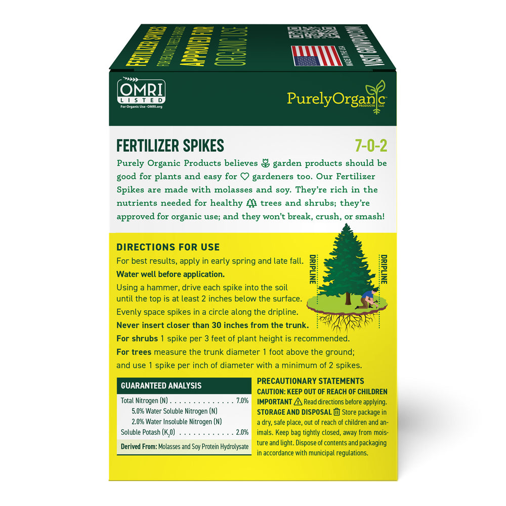 Purely Organic Tree & Shrub Fertilizer Spikes (1.5 Lb - 6 Spikes)