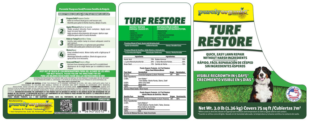 Purely Organic Products Turf Restore Grass Repair Mix (3 LB - Covers 75 Sq Ft)