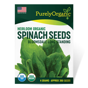 Purely Organic Heirloom Spinach Seeds (Bloomsdale Long Standing) - Approx 360 Seeds