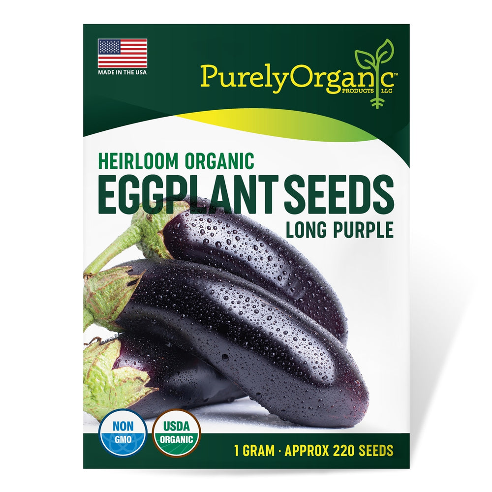 Purely Organic Heirloom Eggplant Seeds (Long Purple) - Approx 220 Seeds
