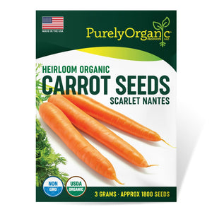 Purely Organic Heirloom Carrot Seeds (Scarlet Nantes) - Approx 1800 Seeds