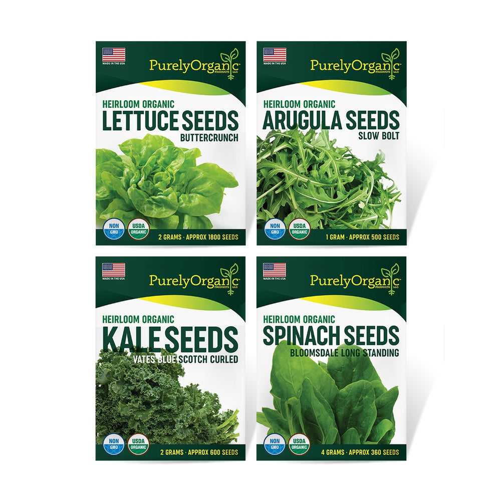 Purely Organic Salad Greens Starter Kit (4 Seed Packets - Over 3000 Seeds) - COMING SOON