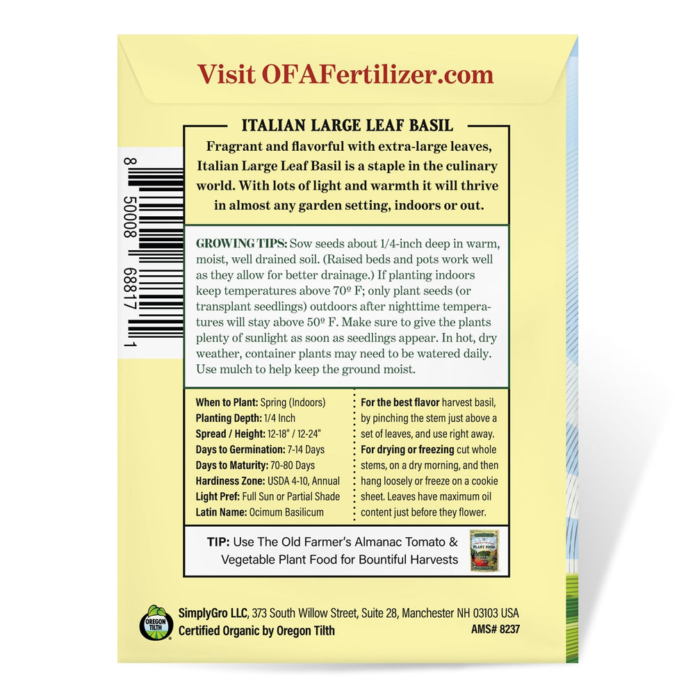 The Old Farmer's Almanac Basil Seeds (Organic Italian Large Leaf)