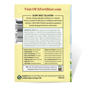 The Old Farmer's Almanac Organic Cilantro Seeds (Slow Bolt)