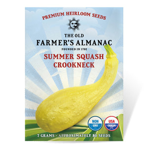 The Old Farmer's Almanac Heirloom Summer Squash Seeds (Yellow Crookneck) - Approx 80 Seeds