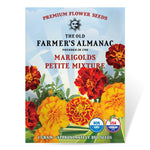 The Old Farmer's Almanac Premium Marigold Seeds (Open-Pollinated Petite Mixture) - Approx 200 Seeds