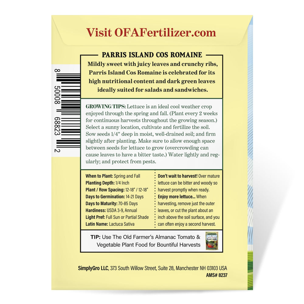 The Old Farmer's Almanac Romaine Lettuce Seeds (Heirloom Parris Island Cos)