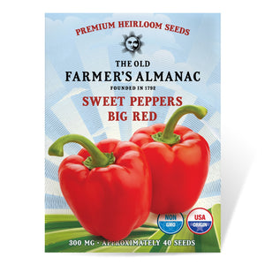 The Old Farmer's Almanac Sweet Pepper Seeds (Big Red) - Approx 80 Seeds