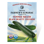 The Old Farmer's Almanac Heirloom Summer Squash Seeds (Black Beauty Zucchini) - Approx 60 Seeds