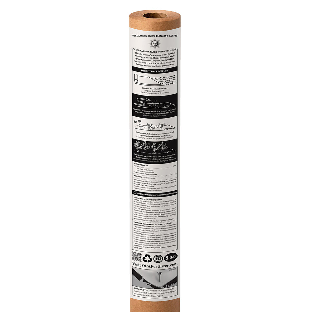 The Old Farmer's Almanac Organic Weed Barrier Paper with Fertilizer (Covers 150 Sq Ft) SHIPS APRIL 20th