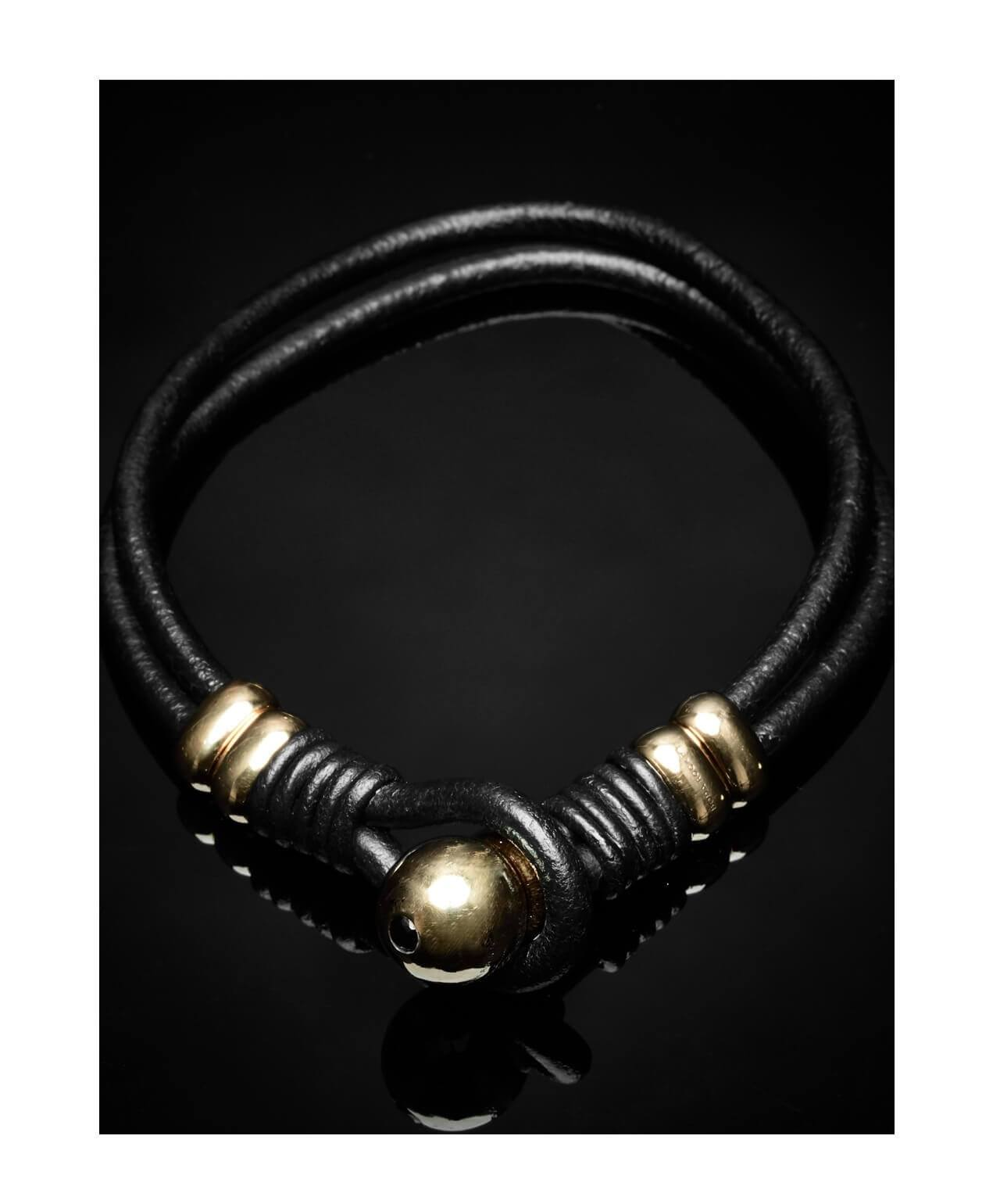 Double Wrap Leather Bracelet Gold