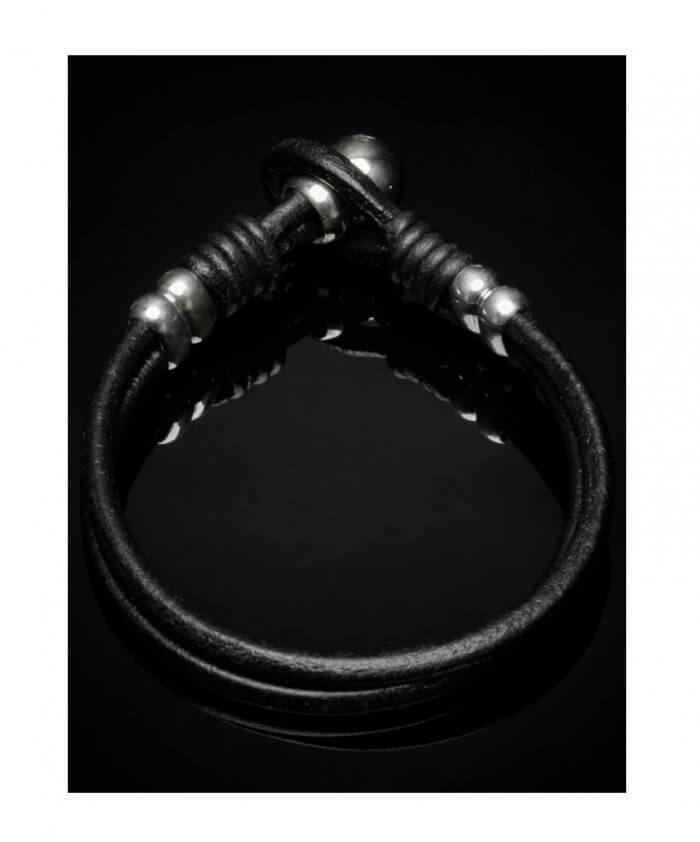 Double Wrap Leather Bracelet Silver