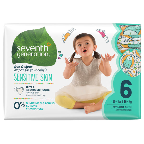 Seventh Generation Free & Clear Baby Diapers with Animal Prints Size 6, 20 Count