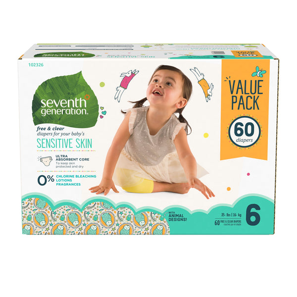 Seventh Generation Baby Diapers with Animal Prints Size 6, 35+ lbs 60 count