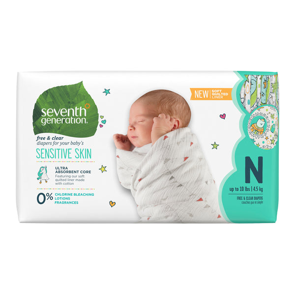 Seventh Generation Free & Clear Baby Diapers with Animal Prints Size Newborn, 36 Count