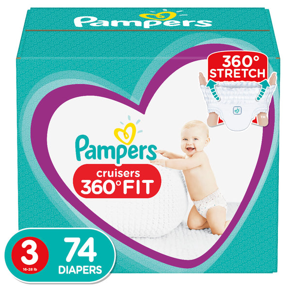 Pampers Cruisers 360 Fit Active Comfort Diapers, Size 3, 74 Ct none
