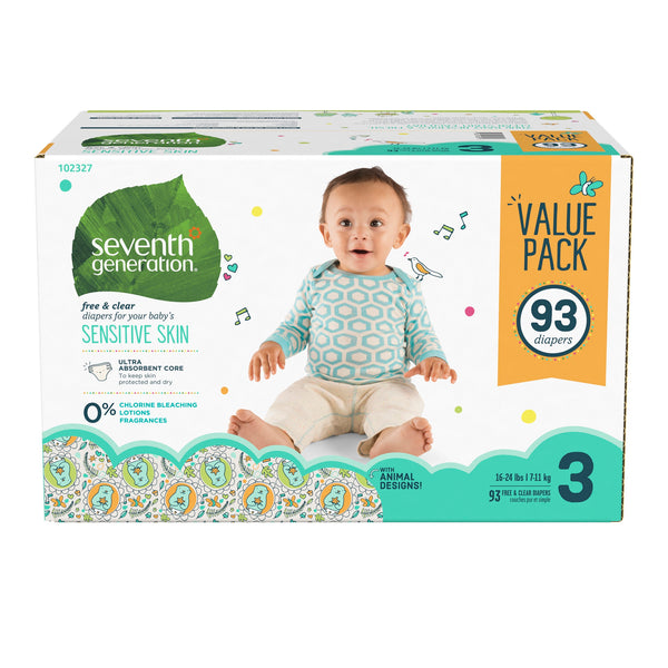 Seventh Generation Baby Diapers with Animal Prints Size 3, 16-28lbs 93 count