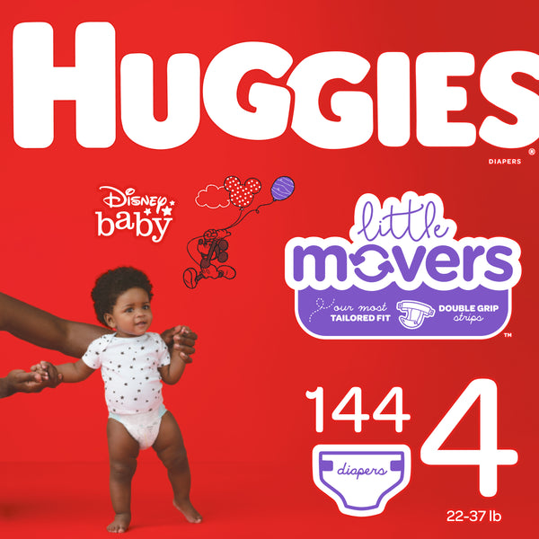 HUGGIES Little Movers Diapers, Size 4, 144 Count