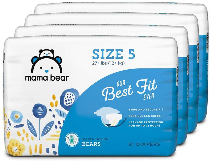 Amazon Brand - Mama Bear Best Fit Diapers Size 6, 100 Count, Bears Print (4 packs of 25) [Packaging May Vary]
