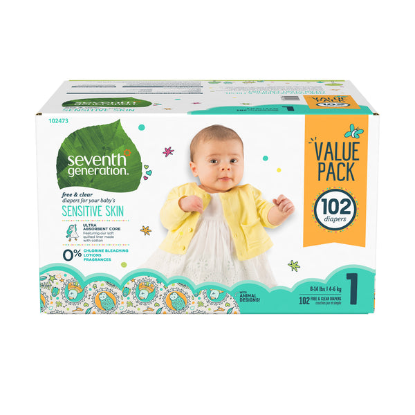 Seventh Generation Free & Clear Baby Diapers with Animal Prints Size 1, 102 Count