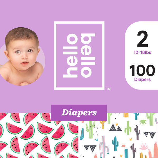 Hello Bello Diapers Club Box - Stuck On You & Watery Melons - Size 2 (100ct)