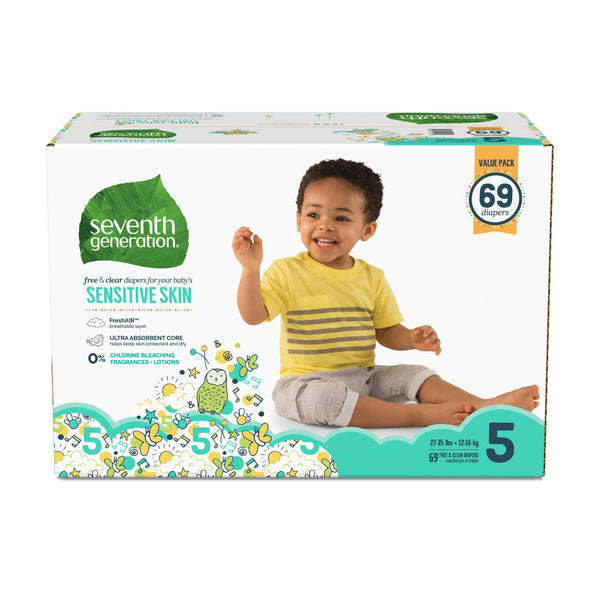 Seventh Generation Size 5, 27+ lbs Baby Diapers 69 Count