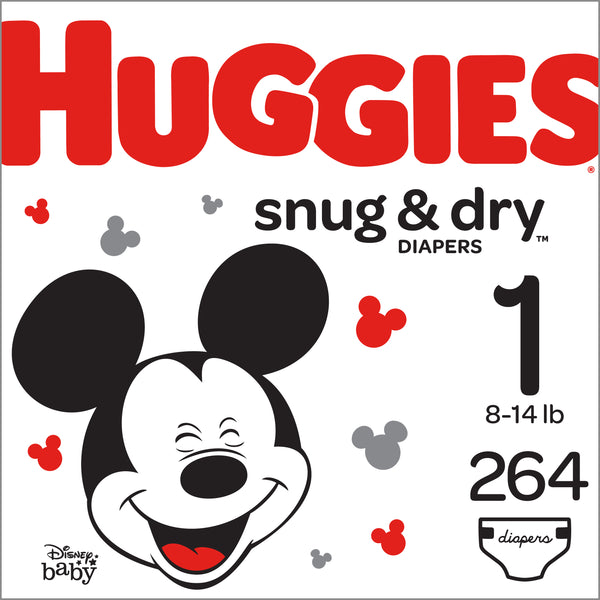 HUGGIES Snug & Dry Diapers, Size 1, 264 Count