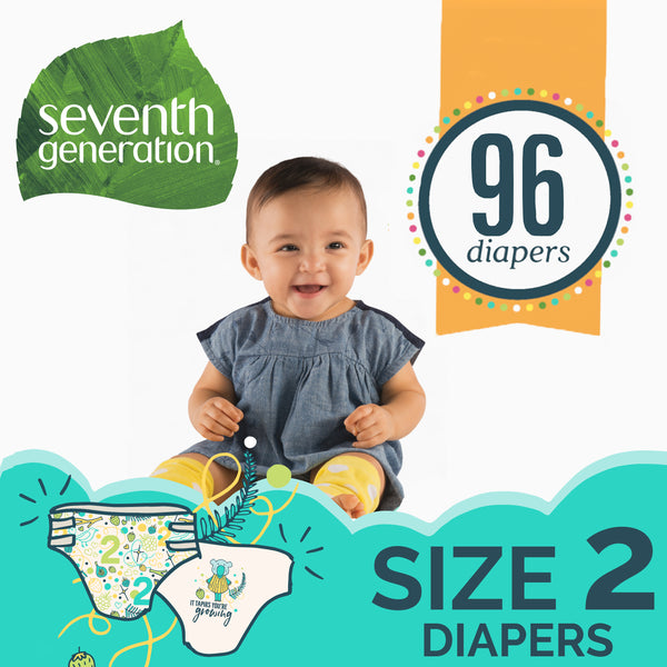 Seventh Generation Free & Clear Baby Diapers Size 2, 12-18lbs 96 count